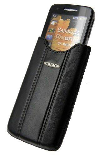 Samsung GT- M8910 Pixon12 - Exklusiv Leder Etui Tasche Slim-Case **Spezielle Anfertigung - Original MTT** In der Farbe Schwarz