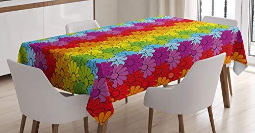 ABAKUHAUS Blumen Tischdecke, Regenbogen farbige Blumen, Für den Inn und Outdoor Bereich geeignet Waschbar Druck Klar Kein Verblassen, 140 x 170 cm, Mehrfarbig (Regenbogen-farbigen Tischdecken)
