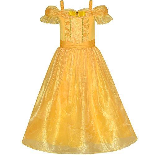 Prinzessin Party Kind Tee Kostüm - Sunboree Mädchen Kleid Prinzessin Belle Kostüm kleiden Oben Gelb Gr. 122