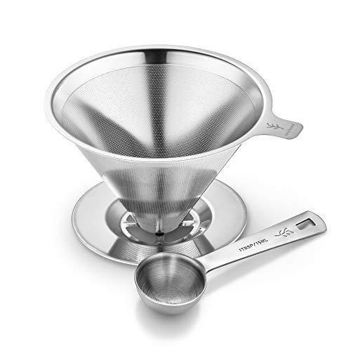 Soulhand Edelstahl-Kaffeefilter, übergießen Sie den Kaffeetropf-Filter papierloser,...
