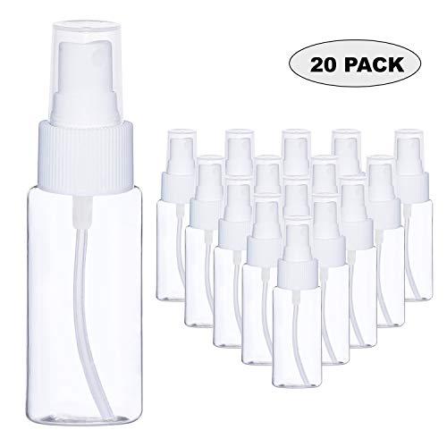 80ml Sprühflasche (20 Stück) - Durchsichtige Zerstäuberflasche aus Kunststoff mit Zerstäuber Pumpe - Nachfüllbare Dichte Flaschen - Pumpsprayflasche für Ätherische Öle, Parfüms, Sprays