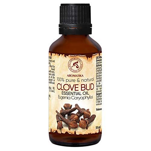 Nelkenöl 50ml - Eugenia Caryophyllus - Indonesia - 100% Reine und Natürliche Clove Bud Oil - für Wellness - Schönheit - Aromatherapie - Entspannung - Spa - Aroma Diffuser - Duftlampe - Raumduft