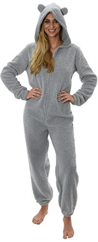 Womens Onesies In voller Länge Fleece Onesie mit Kapuze All In One Overall Bademantel Girls Damen, grau, klein