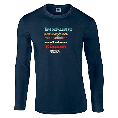 Divertente 035, Born To Be Wild, Navy Gildan Softstyle Long Sleeve T-shirt Blu Cotone Uomo Maglietta Mens Top con Design Colorato. Taglia M, Medium