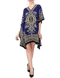 Classic Wear Women Kaftan Dress Beach Cover Up Ladies Fashion Kaftan Boho Beachwear Swimwear Coverup Holiday Dress Free Size - Royal Blue