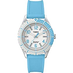 Timex-T2P006D7 Urban Women's Watch Analogue Quartz White Dial Black Silicone Strap (Blue)