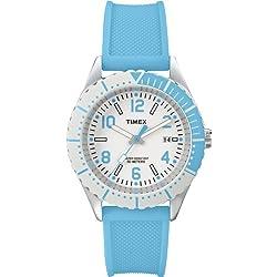 Timex-T2P006D7 Urban Women's Watch Analogue Quartz White Dial Black Silicone Strap (Blue)