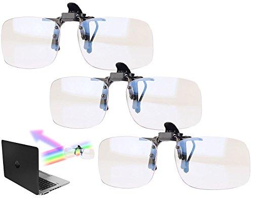 infactory Brillenclip Sonnenschutz: 3er-Set Augenschonende Brillen-Clips, Blaulicht-Filter für Bildschirme (Blaulichtfilter Brillenaufsatz)