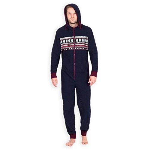 Lenfesh Hommes élégant Tout en Un Jumpsuit Onesie Une pièce Pyjamas (XL, Marine)