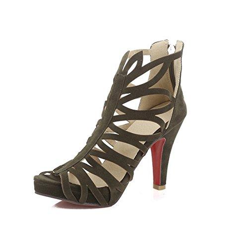 QXH Damenschuhe Sandalen Runden Kopf High Heel Reißverschluss, Army Green, 42 (Ferse Mitte Damen-grün Der)