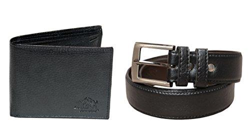Leather Junction 2 in 1 Black Combo Set of Classy Wallet & Belt