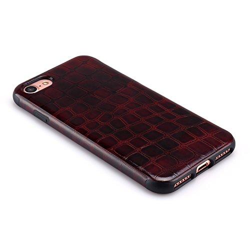 TENDLIN iPhone 7 Hülle Krokodilleder Flexiblem TPU Silikon Hybrid Schutzhülle Schwarz Dunkelrot