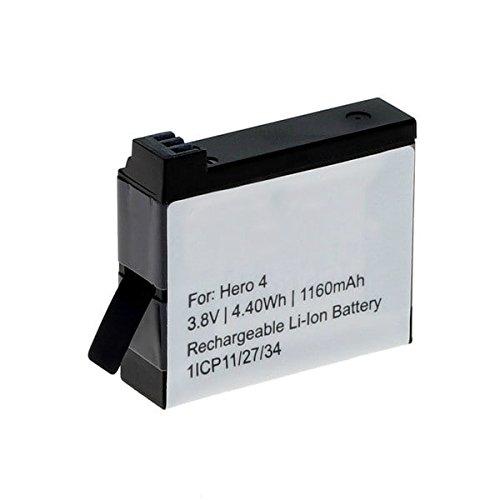 Nueva batería potente para su cámara por GoPro Hero 4!Batería de alta capacidad diseñada especíalmente para las cámaras GoPro Hero 4 es la fuente de energía ideal para grabaciónes de larga duración✔ Batería de reemplazo de calidad con mayor Capacidad...