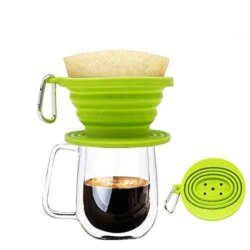 Wolecok Faltbarer Kaffeefilter aus Silikon, lebensmittelecht, perfekt für Draußen und für Unterwegs mit gratis Haken, plastik, lichtgrün, Einheitsgröße - Kaffee-filter-reisen