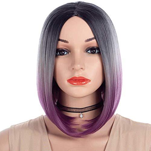 Allievens Bobo Kopf Kurze Glatte Haare hübsches Gesicht Flauschige natürliche realistische Haarschnitt Perücke weibliche Kurze Haare Saloneinrichtung 15Zoll Pink Lila