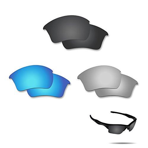 fiskr anti-saltwater Polarisierte Ersatz Gläser für Oakley Half Jacket 2.0XL 3Paar Pack, Stealth Black & Metallic Silver & Ice Blue