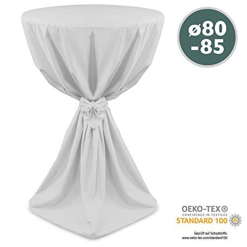 Beautissu Stehtischhusse Weiß Ø80 x 145 cm Giulia Microfaser Stehtischhussen mit elegantem Satinband
