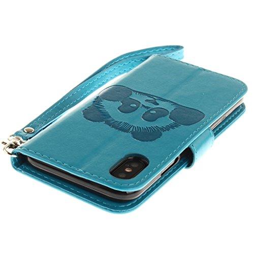 Custodia iPhone X Cover , YIGA nero Retro Modello Design Con Book style Internamente Silicone TPU Custodie Flip Funzionalità di Supporto cuoio Case in Premium pelle Protettiva Flip Cover per Apple iPh Blue