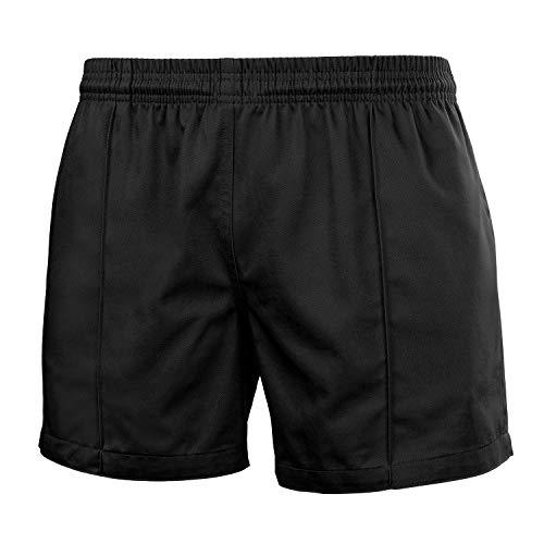 FitsT4 Pro Rugby-Shorts für Damen & Herren Unisex | Kurze Hose für Rugby, Tennis und Anderen Sport | Shorts mit Elastischer Taille Gummizug und Taschen | in Schwarz Dunkel-Blau Weiß Grau oder Rot