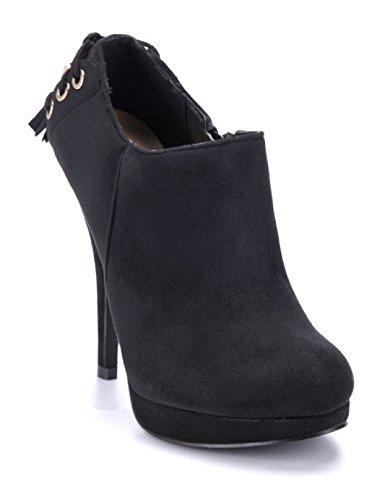 Schuhtempel24 Damen Schuhe Ankle Boots Stiefel Stiefeletten schwarz Stileto 12 cm High Heels