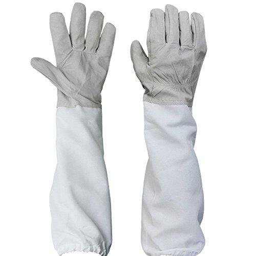 2x Handschuhe Spezielle Bienenzucht Imker Evolution Eco Leder Ärmel atmungsaktiv weiß