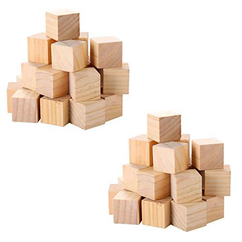 VABNEER 74Pcs Cubos Madera Cubos Madera Lisos Sin