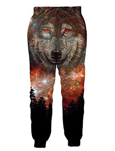 Chicolife Herren Damen Grafik 3D Jogger Hose Unisex gedruckten Sport Track Gym Hosen Sweatpant Baggy aktive Freizeithosen Wolf
