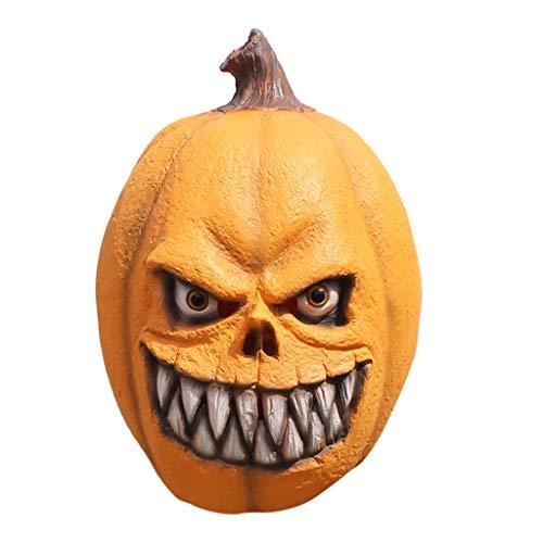 Oyedens Halloween Maske Latex Kürbismaske Tanz Requisiten Orange Style Mask Melting Face Latex Kostüm für Erwachsene Halloween - Kinderbuch Kostüm Für Erwachsene