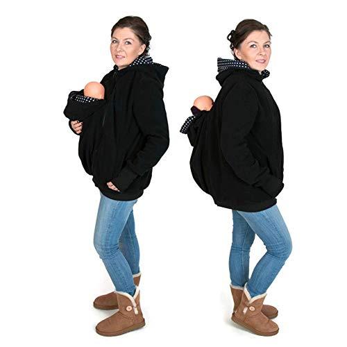 Madre Canguro para Mujer Sudadera Capucha Top Portador De Bebé 3-in-1 Multifunción Forro Polar Chaqueta...