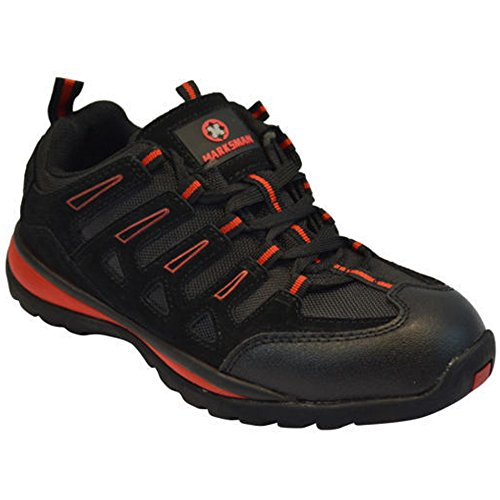MENS SAFETY TRAINERS SHOES BOOTS WORK STEEL TOE CAP HIKER ANKLE BLACK...