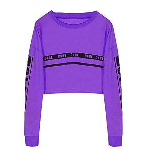 Tonsee Femmes Mode Blanc Lettre Imprimer Surgir Sweat-shirt Top Blouse (M, Violet)