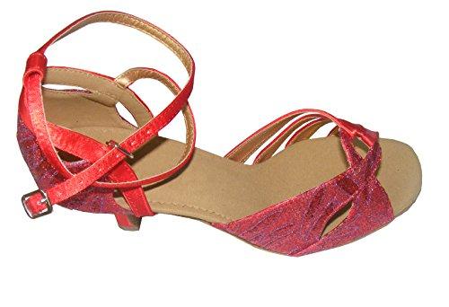 Colorfulworldstore Chaussures de danse latine pour dame, couleur rouge / orange / bleu, satin avec motifs de feuilles Rouge