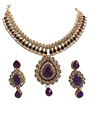 Shree Mauli Creation Purple Alloy Purple Pearl Dulhan Necklace Set For Women SMCN135