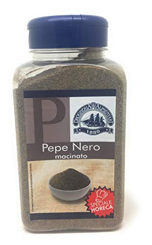 Pepe Nero macinato - 400 g - Sapore Deciso e Piccante - Aromatizza Carne e Pesce, Pastasciutta, Zuppe e Risotti - Discrete Capacità Analgesiche, Antisettiche e Depurative