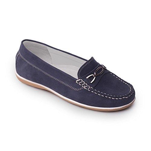 Padders donne scarpa in pelle mocassino 'Brighton'   scivolo mocassino scarpa   Larghezza E   30 millimetri tallone   calzascarpe libero blu N / Cord B-