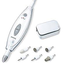 Beurer MP41 Set Manicura Pedicura Profesional, Blanco, 7 Accesorios Incluidos, Luz LED,