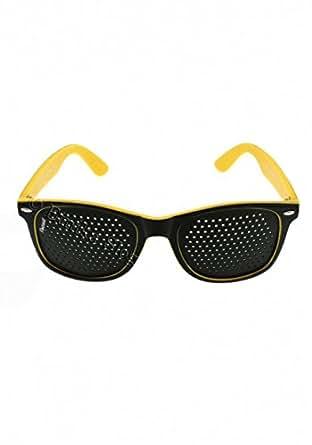 ETNIKA SLOG Occhiali stenopeici con montatura in plastica colore GIALLO e NERO. Gli schermi sono di color nero (non verniciati!), i fori sono rotondi e cilindrici OSC-BCOL-2