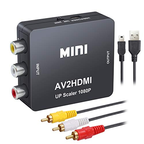 eSynic Mini 1080P RCA AV zu HDMI Konverter Composite Video Audio Adapter mit 1.5m AV Kabel und 80cm USB Ladekabel Unterstützung PAL/NTSC für PC Laptop Xbox PS4 PS3 uzw Schwarz Av-audio-kabel