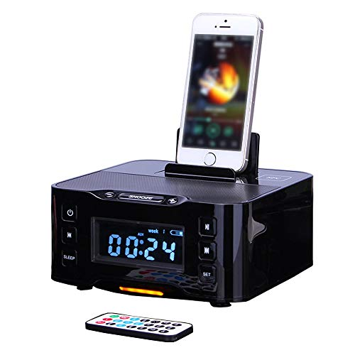 LIGHTOP Docking Station Clock Drahtloser Bluetooth Alarm Ladestation Radio Dock Lautsprecher FM Radio Dock Ladegerät und iPhone/iPad/Mini und Android-Handys (Iphone-lautsprecher-dock Clock)