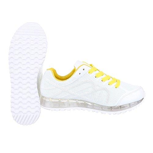 Ital-Design Sportschuhe Damen Schuhe Geschlossen Sneakers Schnürsenkel Freizeitschuhe Weiß Gelb