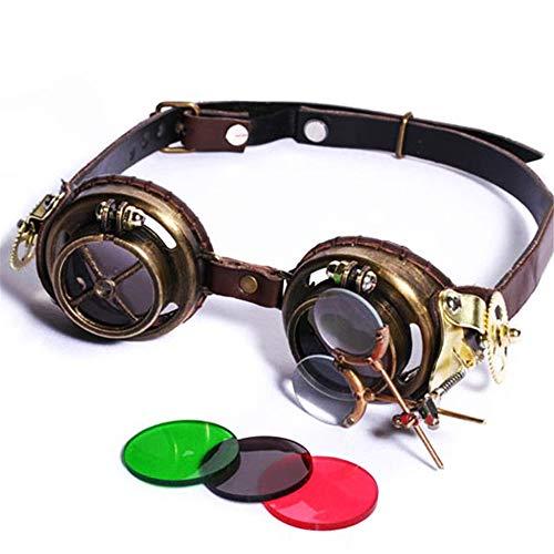 Yiph-Sunglass Sonnenbrillen Mode Prissy Style mittelalterliche handgemachte Steampunk-Brille begeisterte Gläser Vintage-Funktionen mit 3 Farben Linsen