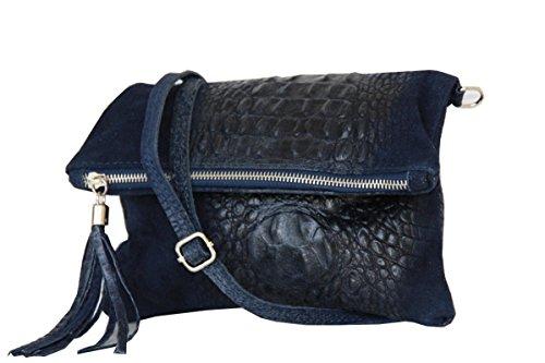 Blau Leder Tasche (zarolo Damen Umhängetasche,Tasche klein, Schultertasche, Cross Body, Leder Clutch echtes Leder, Handtasche Italienische Handarbeit M20591)
