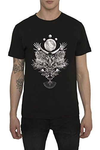 Herren Fashion Rock Band Style Metal T Shirt in Schwarz mit Aufdruck Night Hunter Designer Metallic Silber Print Tops, Baumwolle Jersey, Kurzarm, Rundhals Shirts, Smart Casual Bekleidung für Männer (Folie Print Animal Top)
