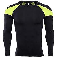 Camiseta de Deportes Manga Corta para Hombre Top de Ajustado de Compresión de Entrenamiento Fitness Secado