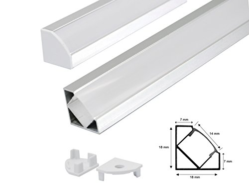 LED Alu Profil Aluminium Schiene Profilabdeckung incl. Opal -Milchig- weiß Abdeckung für Led Strips Streifen 1m Profil G