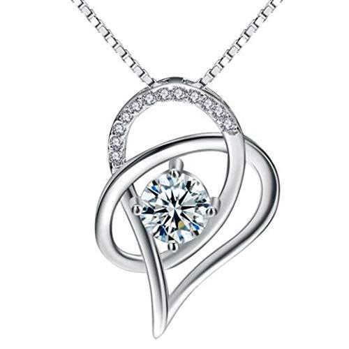 C.M.Nuine Herz Anhänger Kette Damen 925 Silber *Unendliche Liebe* Zirkonia Schmuck - Edles Geschenk für Damen