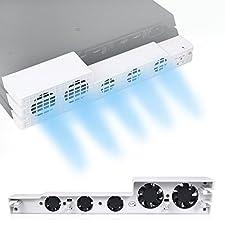 PS4 Pro Refroidisseur Ventilateur Couleur Blanche - ElecGear Glacial White Turbo 5 Cooling Fan Ventilateur de Refroidissement de Auto contrôle de la température pour Sony Playstation 4 Pro