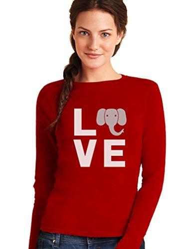 Love Elephant Soyez gentil avec les éléphants T-shirt Manches longues Femme Rouge