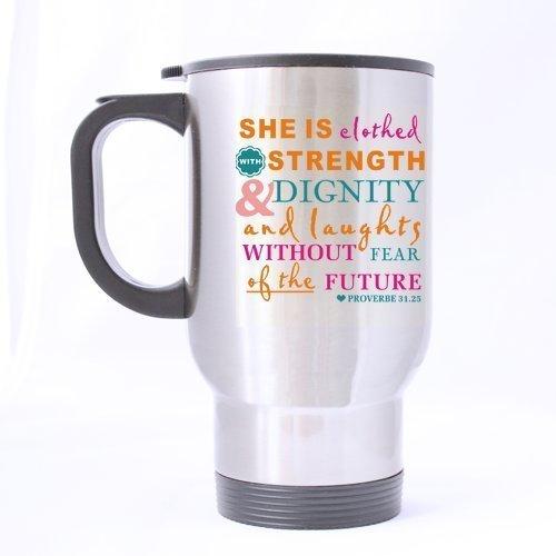multi-fonctions Bible Verse Mug à thé de transport – proverbes 31 : 25 Elle est habillé avec Force et Dignité – 42 Ozcustom Mug de voyage en acier inoxydable 396,9 gram (Sliver)