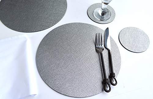 Giftag - Lot de 6 sets de table et 6 dessous de verre ronds en cuir reconstitué (argent)